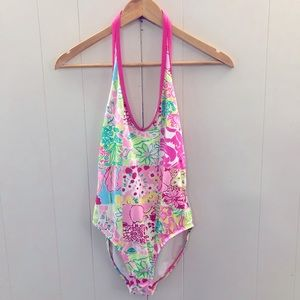 LILLY PULITZER Sz 6 1-Piece Halter Swimming Suit